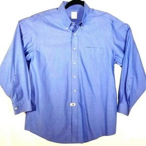 Brooks Brothers Mens 17 Solid BlueButton Down